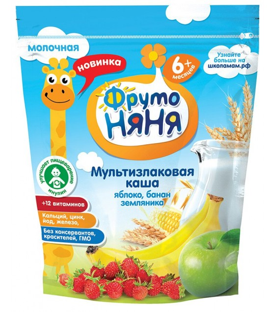 """FrutoNanya"" Multi Grains Porridge with apple, bananas and strawberries (for children from 6 months) - 200g (exp. 20.11.20)"