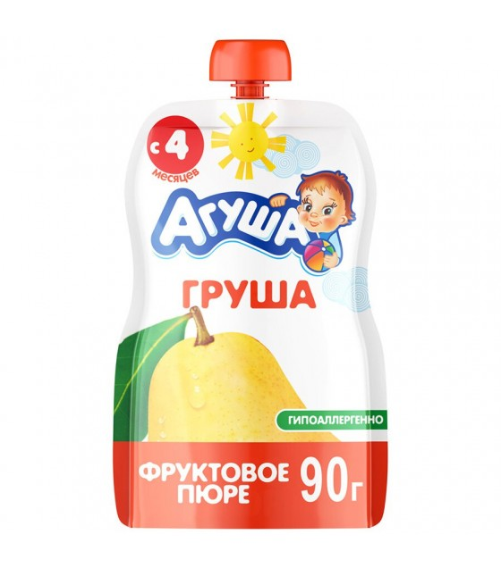 "Fruit puree ""Agusha"" Pear (from 6-months) - 90g (exp. 18.04.19)"