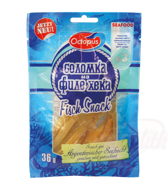 OCTOPUS Hake Fillets Straws Dried Snack - 36g (best before 02.10.22)