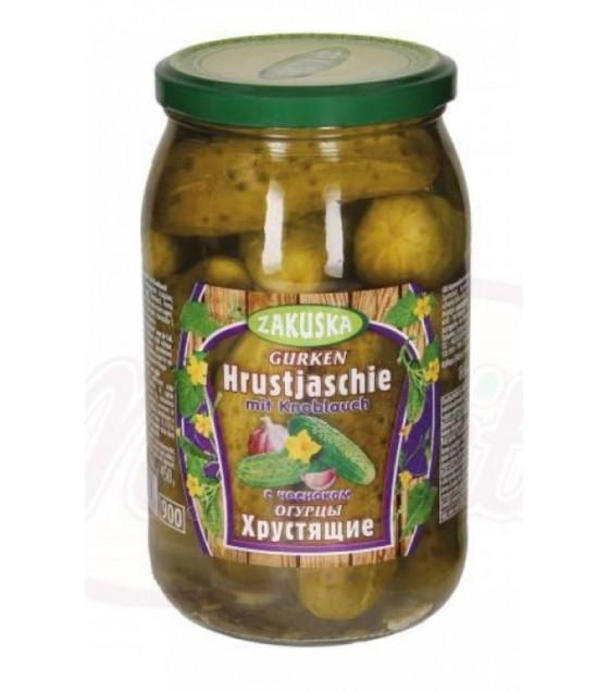 """STEINHAUER ZAKUSKA Pickled Cucumbers """"Hrustjaschie"""" with Garlic (mit Knoblauch) - 900g (best before 14.07.23)"""