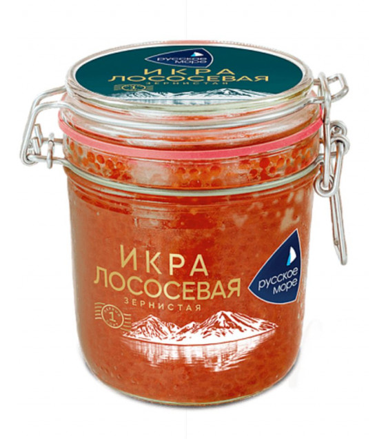 RUSSKOE MORE Salmon Granular Caviar (Gorbusha) Glass Jar - 500g (best before 29.07.21)