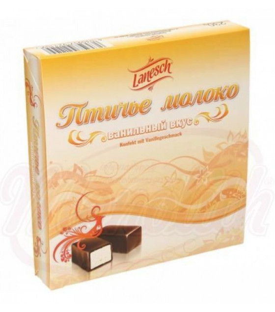 """LANESCH Marshmallow Confectionery with Vanilla Flavor in Chocolate """"Ptichie Moloko"""" - 230g (best before 19.03.21)"""