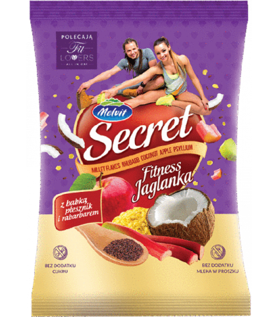 "MELVIT ""Secret Fitness"" Millet Flakes with Rhubarb, Coconut, Apple and Psyllium - 50g (exp. 28.02.21)"