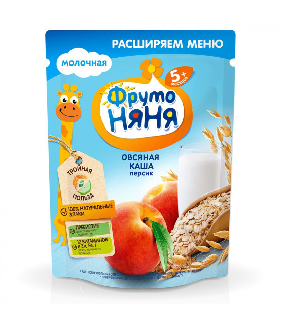 FRUTO-NANYA Milk Oat Porridge with Peach (from 5 months) - 200g (best before 20.04.22)