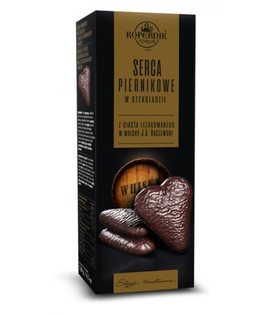 "KOPERNIK Chocolate Covered Gingerbread ""Hearts"" made of Dough Maturing in Whisky - 128g (best before 30.08.21)"