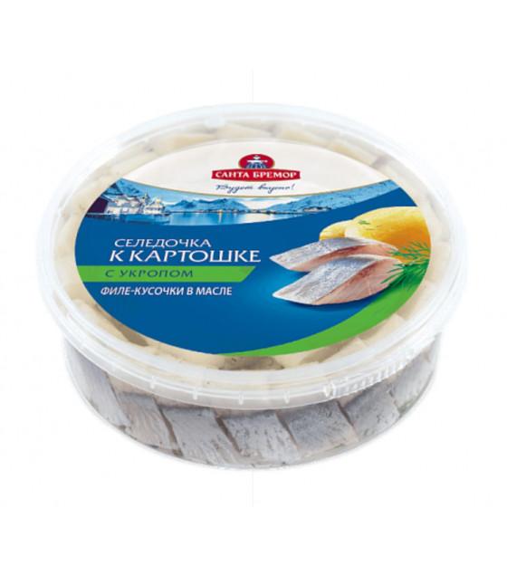 "SANTA BREMOR Atlantic Herring Fillet Pieces Lightly Salted ""Seledochka k kartoshke"" with dill in oil - 350g (best before 16.12.20)"