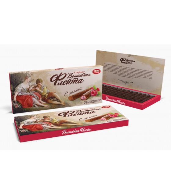 "KRASNY PISHEVIK Sweets in Chocolate ""Magic Flute"" with Raspberry - 240g (best before 17.02.21)"