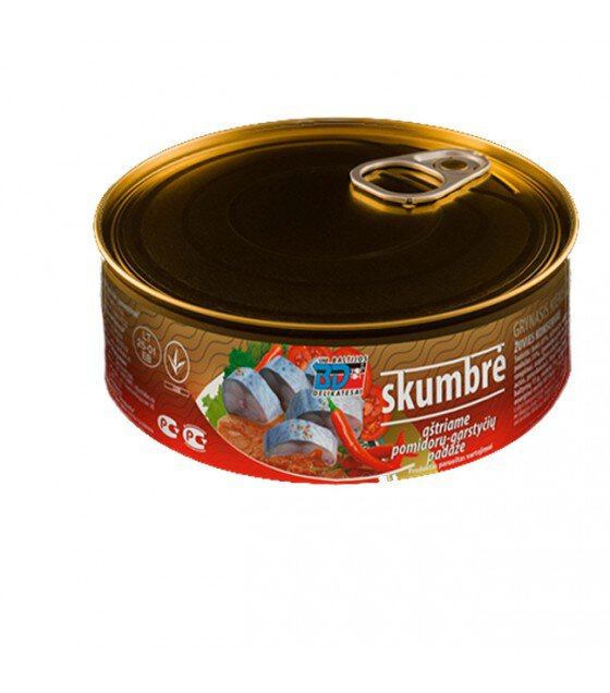 """Mackerel (Skumbre) In Tomato Sauce """"Baltijos Delikatesai""""- 230g (exp.21.06.20)"""