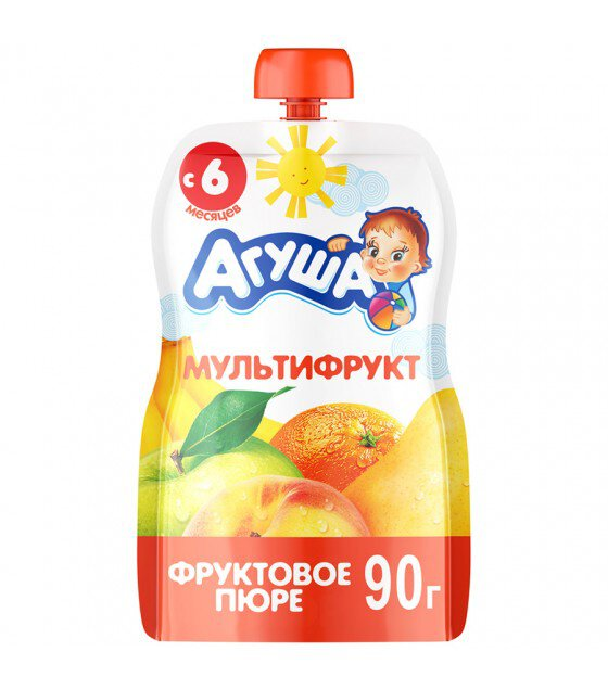 "Fruit puree ""Agusha"" Multifruit (from 6-months) - 90g (exp. 11.06.19)"