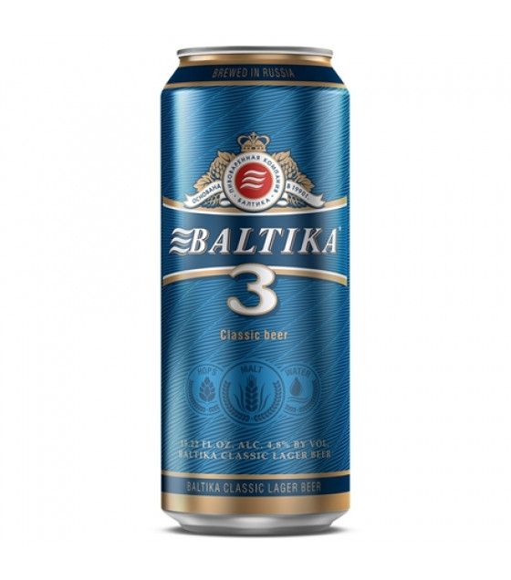 "Classic Lager Beer ""Baltika N 3"" pasteurized 4,8% (metal can) - 450ml (best before 28.05.21)"