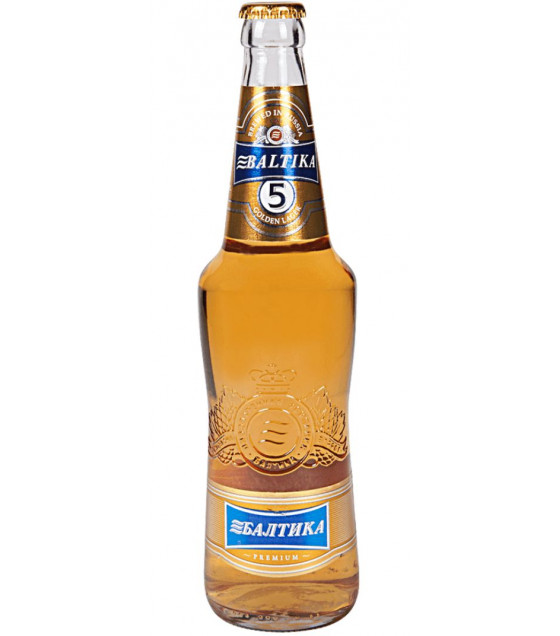 "Pale Lager Beer ""Baltika N 5"" pasteurized 5,3% - 470ml (best before 09.05.21)"