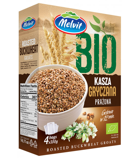 MELVIT BIO Roasted Buckwheat Groats (4x100g) - 400g (best before 25.10.21)
