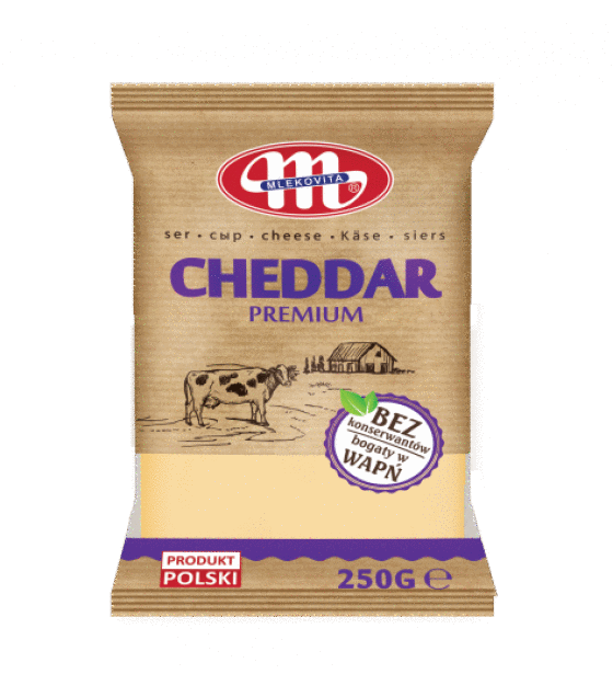 Mlekovita CHEDDAR cheese pieces -250 g (exp. 14.06.19)