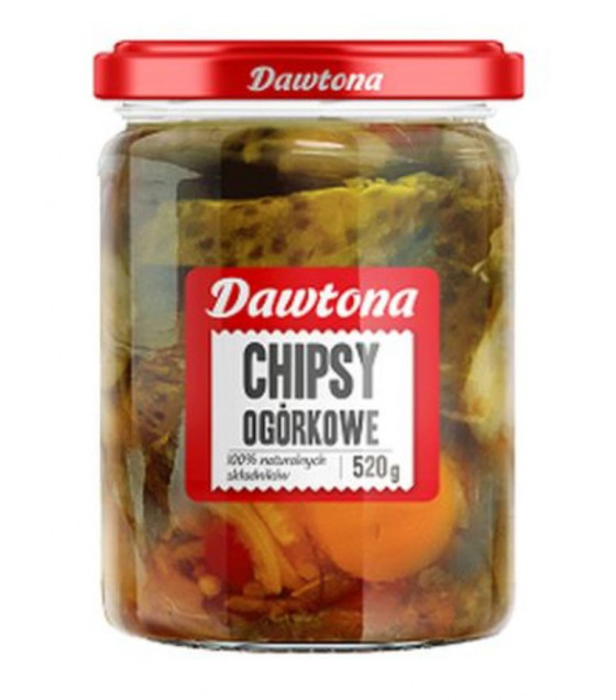 DAWTONA Pickled Sliced Gherkins (Chipsy Ogorkowe) - 520g (best before 18.07.23)