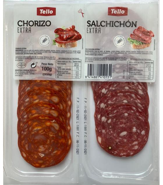 TELLO Chorizo Extra & Salchichon Extra Sliced Sausages (2x50g) - 100g  (best before 08.11.21)