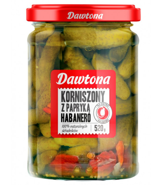 DAWTONA Spicy Pickled Gherkins with Habanero - 520g (best before 07.08.22)