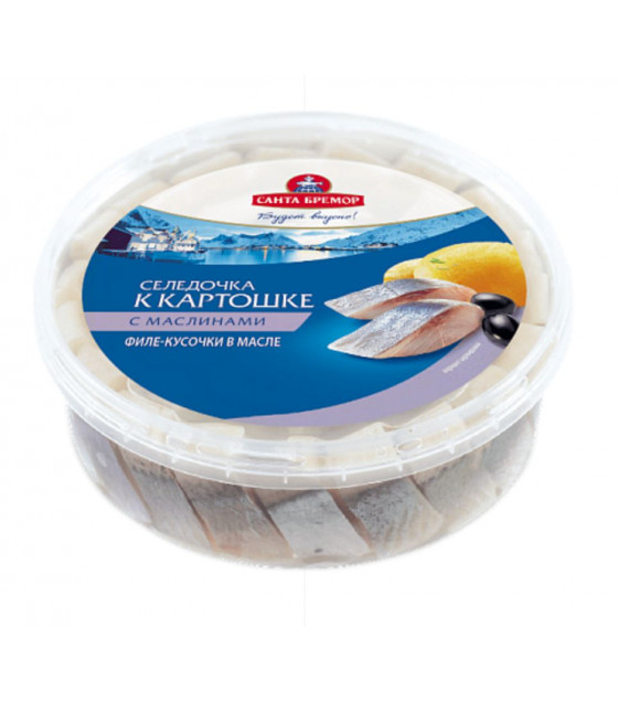 "SANTA BREMOR Atlantic Herring Fillet Pieces Lightly Salted ""Seledochka k kartoshke"" with black olives in oil - 350g (best before 16.12.20)"