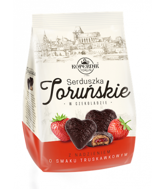 KOPERNIK Heart Shaped Pierniki (Gingerbread) Cakes with Strawberry Flavoured Filling - 150g (best before 30.11.21)