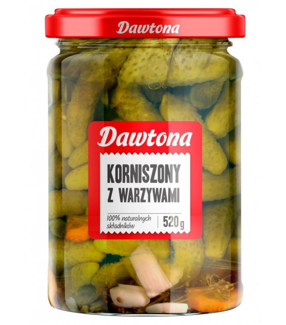 DAWTONA Pickled Gherkins with Vegetables (Z Warzywami) - 520g (best before  11.08.23)