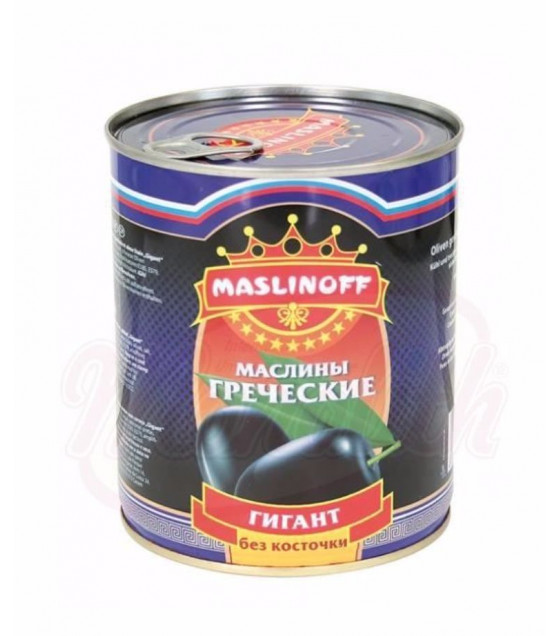 "MASLINOFF Pickled Blackened Greek Olives without Stone ""Gigant"" - 450g (best before 03.12.23)"