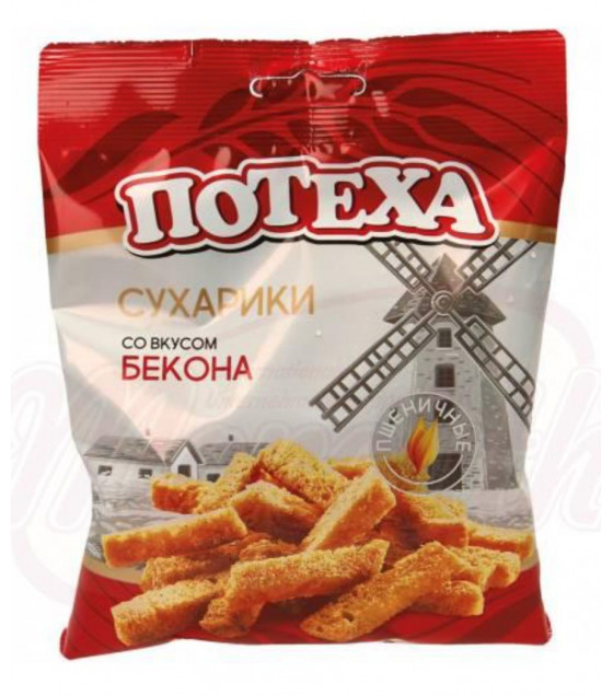 STEINHAUER POTEKHA Snack of Roasted Wheat Bread with Bacon Flavour - 80g (best before 14.04.21)