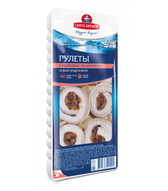 SANTA BREMOR Atlantic Marinated Herring Fillet Rolls with Spicy Korean Carrot in oil - 240g (best before 15.01.21)