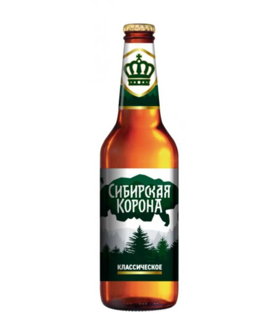 "Lager Beer ""Sibirskaja Korona Classik"" pasteurized 5,3% - 470ml (best before 30.04.21)"