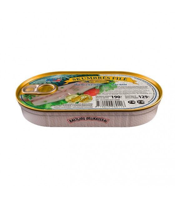 "Mackerel (skumbre) fillet in Oil ""Baltijos Delikatesai""-190g (exp.16.06.20)"