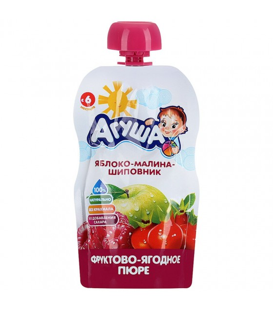 "Fruit puree ""Agusha"" Apple-Raspberry-Rosehip (from 6-months) - 90g (exp. 15.12.19)"