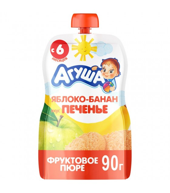 "Fruit puree ""Agusha"" apple-banana-cookie (from 6-months) - 90g (exp. 04.04.19)"