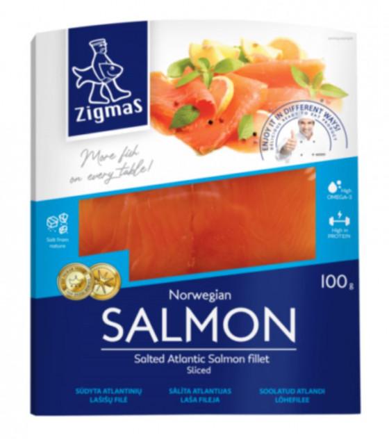 ZIGMAS Salted Atlantic Salmon Fillet Sliced - 100g (best before 23.06.21)