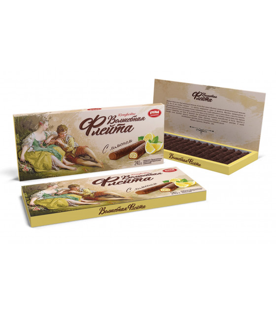 "KRASNY PISHEVIK Sweets in Chocolate ""Magic Flute"" with Lemon - 240g (best before 17.02.21)"