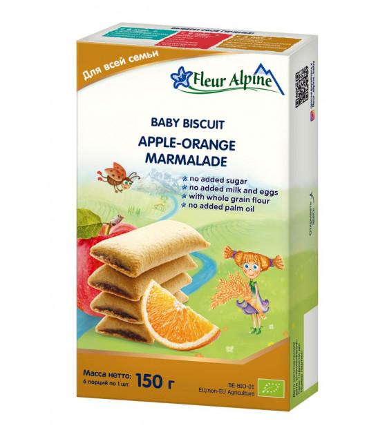 "Fleur Alpine - Organic Baby Biscuits ""Apple-Orange Marmalade"" from 18 months -150g (best before 20.11.21)"