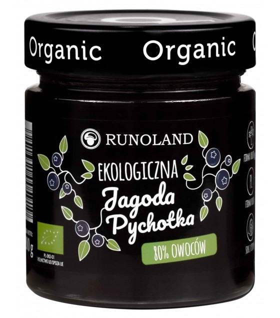 RUNOLAND ORGANIC Blueberry Jam 80% Fruits - 200g (exp. 10.05.20)