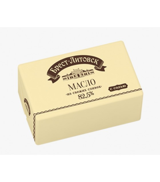 "SAVUSHKIN  Salted cultured cream butter ""Brest-Litovsk"" 82,5% fat - 180g (best before 25.12.20)"