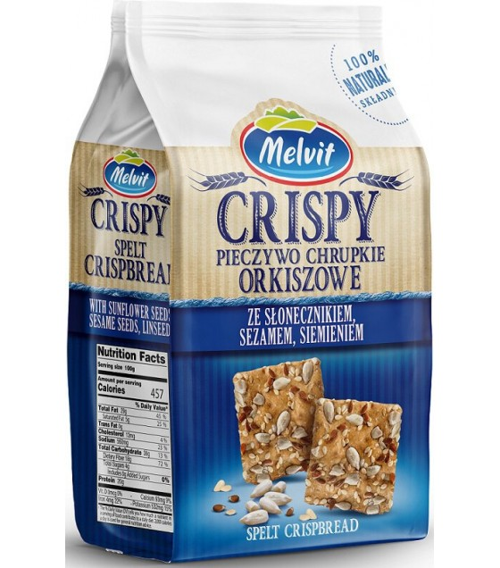 MELVIT Crispbread Spelt With Sunflower Seeds, Sesame Seeds and Linseeds - 150g (exp. 14.10.19)