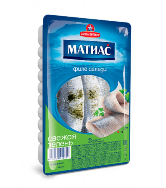 "SANTA BREMOR Slightly Salted Atlantic Herring Fillet ""MATIAS"" ""Fresh Greens"" in oil - 250g (best before 13.01.21)"