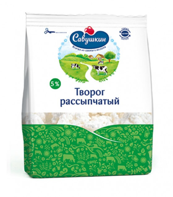 "SAVUSHKIN Cottage Cheese ""Savushkin Hutorok"" Crumbly Curd ""Rassypchaty"" 5% - 350g (best before 14.12.20)"