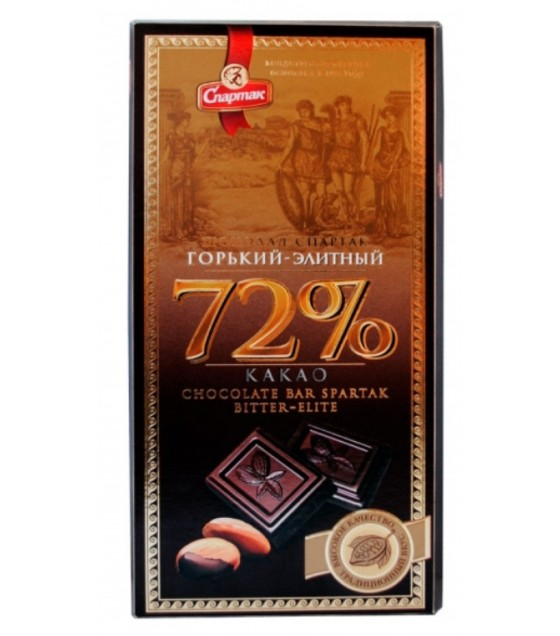 "SPARTAK Bitter Chocolate ""Elitnyi"" 72% - 90g (best before 29.08.21)"