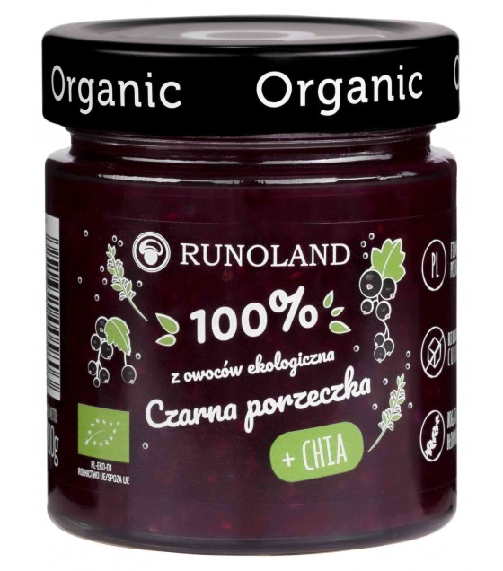 RUNOLAND ORGANIC Blackcurrant Jam with CHIA - 200g (exp. 10.04.20)