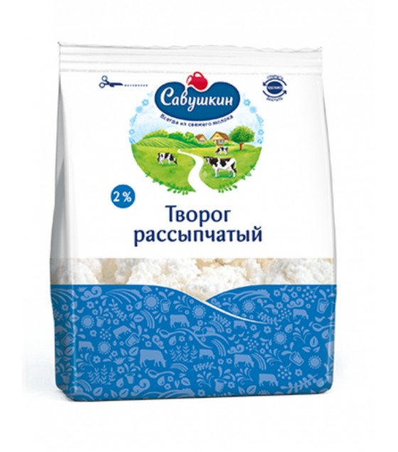 "SAVUSHKIN Cottage Cheese ""Savushkin Hutorok"" Crumbly Curd ""Rassypchaty"" 2% - 350g (best before 13.12.20)"