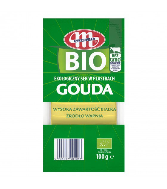 Mlekovita GOUDA BIO Ecological Cheese Slices without GMO -100 g (exp. 22.06.19)