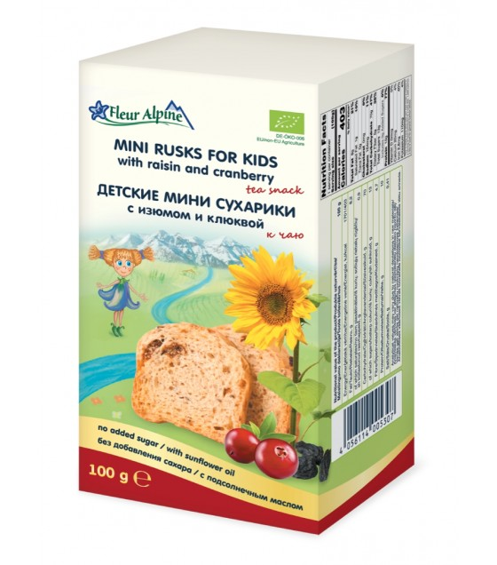 Fleur Alpine - Mini Rusks with Raisin and Cranberry For Kids - 100g (exp. 05.12.20)