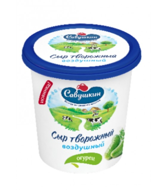 "SAVUSHKIN  Curd cheese ""Vozdushny"" with cucumber 60%fat (plastic cup) - 150g (exp. 05.07.20)"