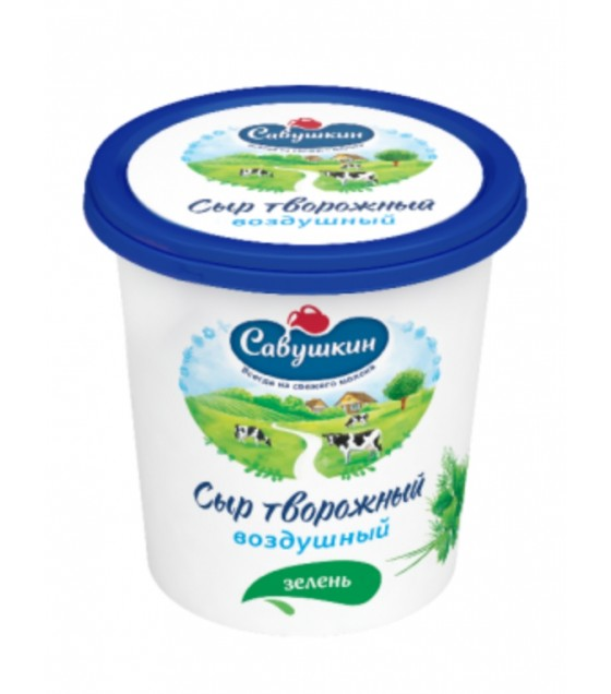 "SAVUSHKIN  Curd cheese ""Vozdushny"" with herbs 60%fat (plastic cup) - 150g (best before 20.10.21)"