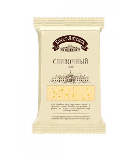 "SAVUSHKIN  Cheese semi-hard ""Brest-Litovsk slivochniy"" 50% fat (pieces) - 200g (best before 27.04.21)"