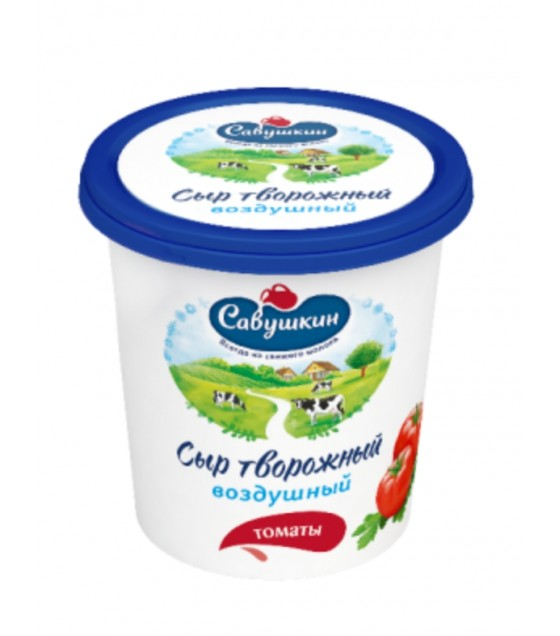 "SAVUSHKIN  Curd cheese ""Vozdushny"" with tomatoes 60%fat (plastic cup) - 150g (exp. 29.06.20)"