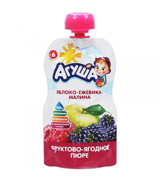 "Fruit puree ""Agusha"" Apple-Blackberry-Raspberry (from 6-months) - 90g (exp. 10.10.19)"