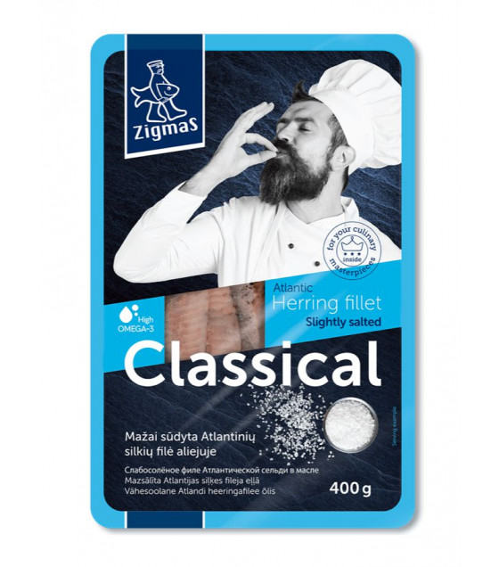 ZIGMAS Classic herring fillet in oil - 0.4 kg.  ZIGMAS 招牌油浸大西洋鯡魚柳 - 0,4 kg (best before 29.08.21)
