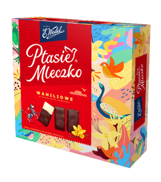 """E.Wedel """"Ptasie Mleczko"""" Chocolate Covered Marshmallow Vanilla - 380g (best before 12.12.21)"""